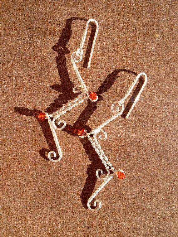 wire wrap.silver wire. earrings. Swarovski. by LaSolis on Etsy