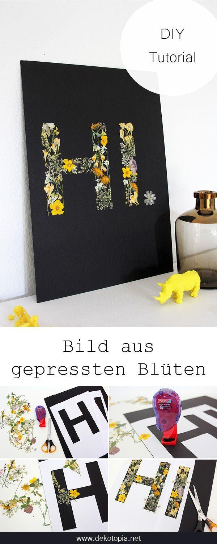 DIY Anleitung: Gepresste Blüten als Wanddekoration