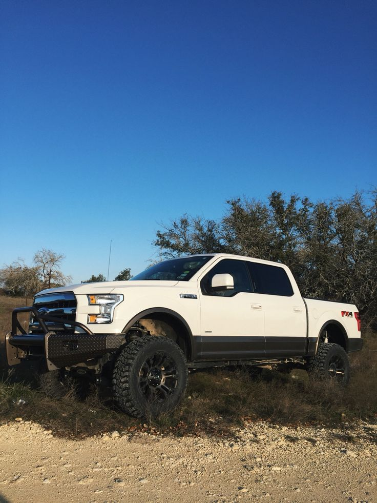 Lifted 2015 f150 white and caribou ford texas trucks