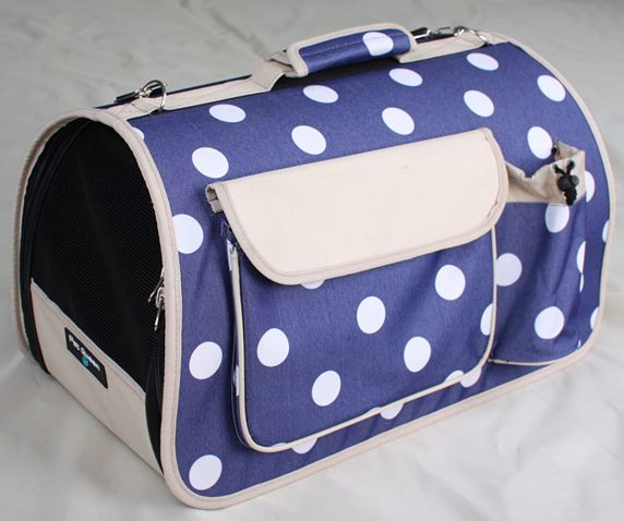 Navy Polkadots Igloo Shape Carrier! Flat packed for easy storage! Perfect for transportation purpose! http://edenpetz.co.uk/dogs/dogcarrierscrates/collapsiblecarriers/navypolkadotscarrierlarge