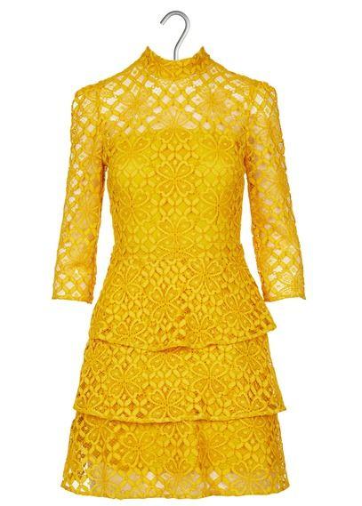 259657a7630 Robe courte en dentelle à volants jaune claudie pierlot - femme en ...