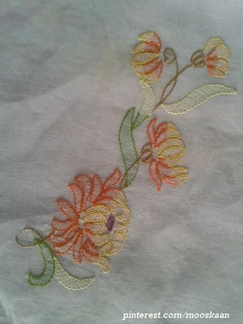 Shadow-work / Lucknow Chikan embroidery on organdy sari using Anchor Embroidery thread...... Basic Motif Pattern (trimmed) : Motif C in Plate #56 - http://www.pinterest.com/pin/431501208018743169/ ........ (Series 1-D)