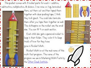 """""""rocket math"""" mastery chart also the site has a great idea of how to keep Rocket Math organized and less paper."""