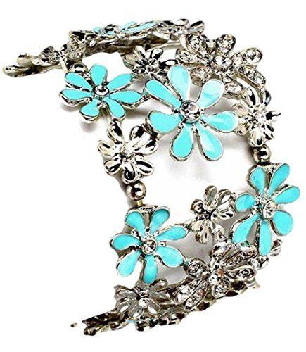 Blue Flowers Cuff Stretch Bracelet C44 Crystals Wide Recy... www.amazon.com/...