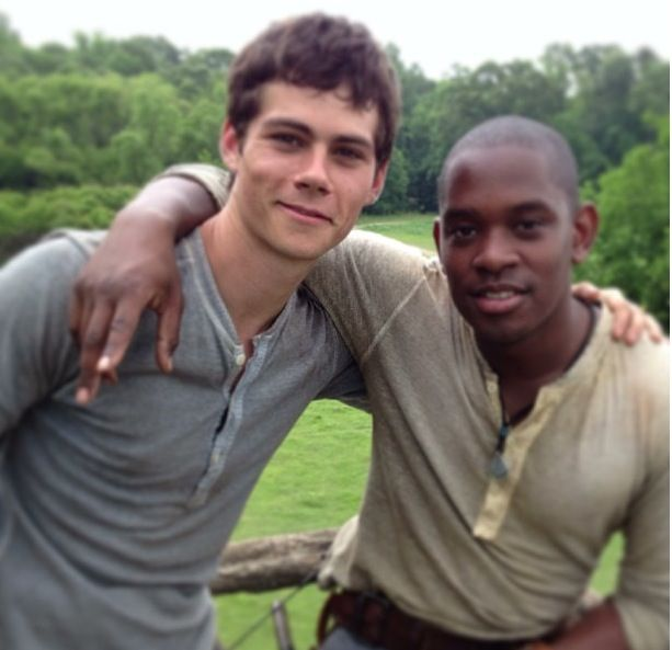 Dylan O'Brien and Aml Ameen - The Maze Runner set   Get ready to get married with me, okay?