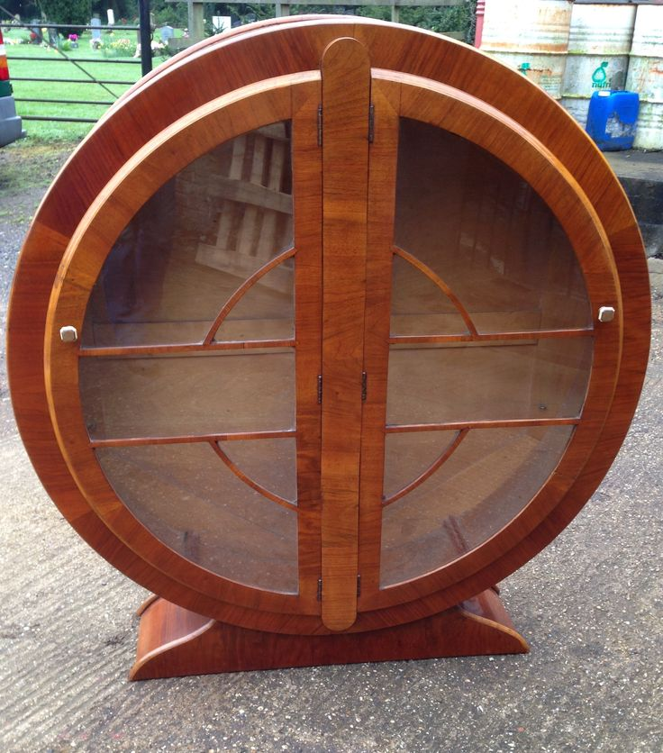 Art Deco walnut round display bookcase with glass shelves