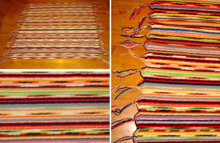 Vintage handmade afghan-Large southwestern blanket-old hand made knit rug by BECKSRELICS on Etsy