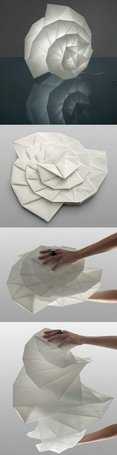 abat-jour diy en forme d'escargot en papier très fin