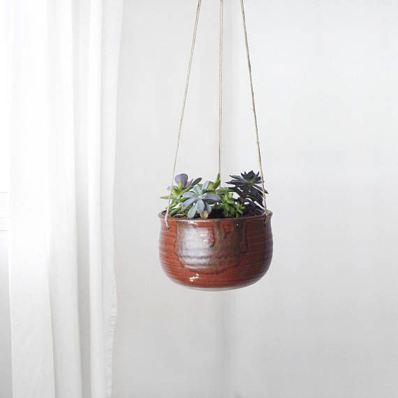 Large Red Hanging Planter For Boho and Eclectic Home Decor