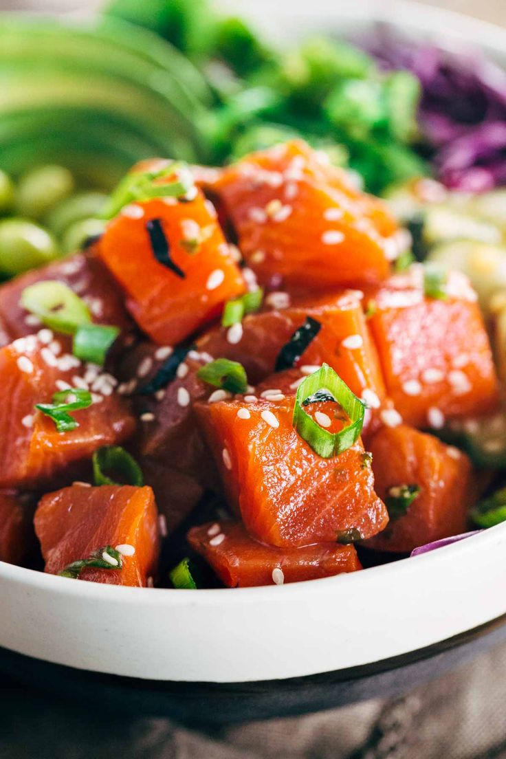 Spicy Sockeye Salmon Poke Bowls - Healthy and flavorful Luxe Gourmets protein infused with Japanese inspired flavors for a delicious gourmet meal!   jessicagavin.com