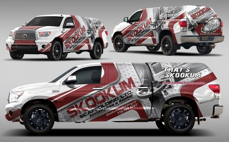 Create a complete truck wrap for a scaffolding company on a Toyota Tundra Truck by dopaMADs