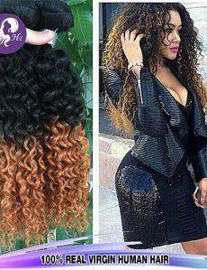 JFF/ 3pcs / lot brésiliens bouclés profondes ombre vierge de cheveux 1b / 30 deux couleurs de ton extensions de cheveux humains de Vente en…