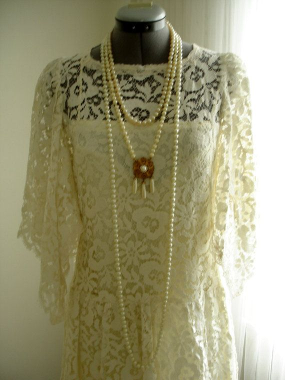 New with Tag Vintage 1970/80 Ivory Lace Jessica McClintock Wedding Dress on Etsy, $388.00