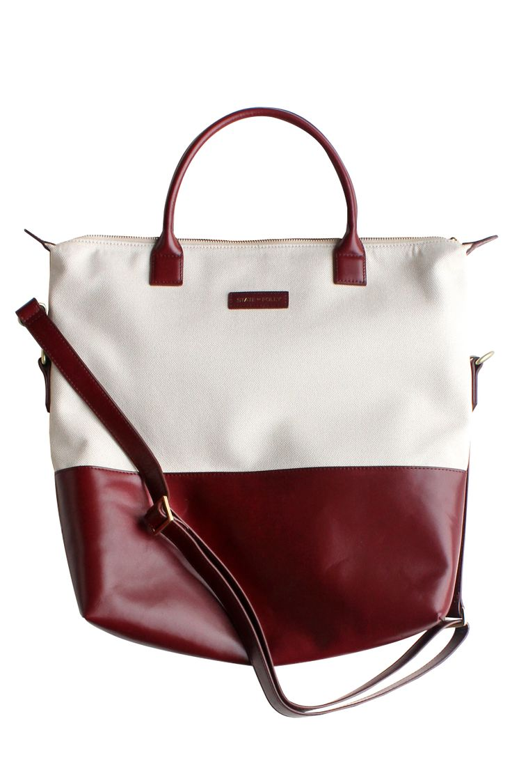 Square Beige Maroon Canvas/Leather Tote