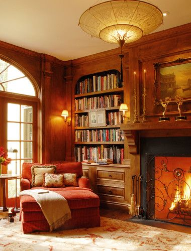 Los Angeles Home Office Photos Design, Pictures, Remodel, Decor and Ideas - page 2. Too much wood for my taste, but love the cosy chair by the corner library!