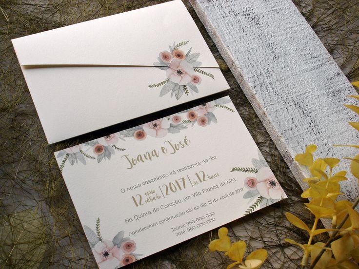 Convite de casamento floral, floral wedding invitation