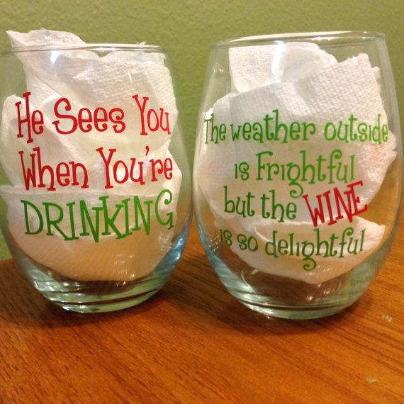 Monogrammed Christmas Wine Glass The weather by YouGotPersonal