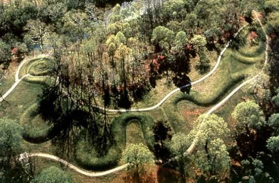 Serpent Mound is  a 1,330 feet long and 3 feet high effigy mound built in pre-historic times. In Adam's County, Ohio near Peebles it is the world's largest effigy built by what are called the Mound Builders.