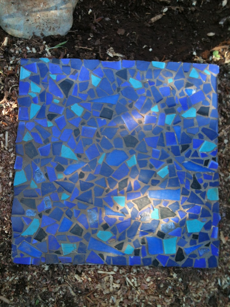 Large blue mosaic stepping stone mosaic stepping stones for Pinterest garden stones
