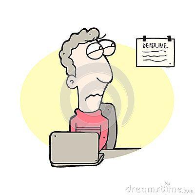 Illustration  cartoon man working under deadline