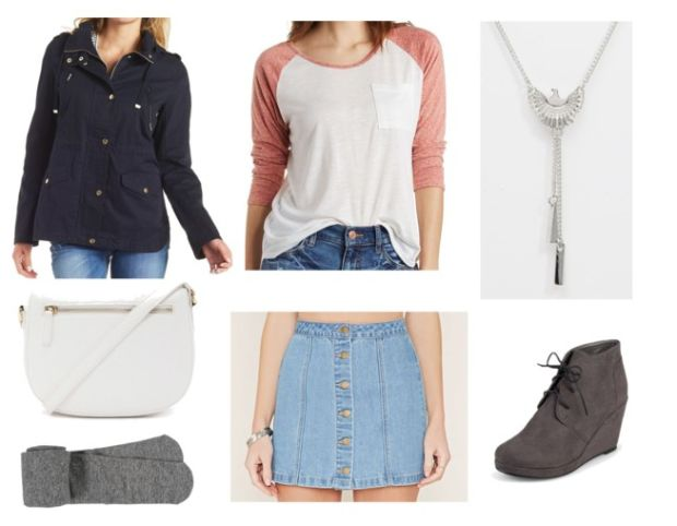Class to Night Out: Raglan Tee - College Fashion  HATE the skirt... replace with some nice capris of the same jean shade and we have an amazing outfit...