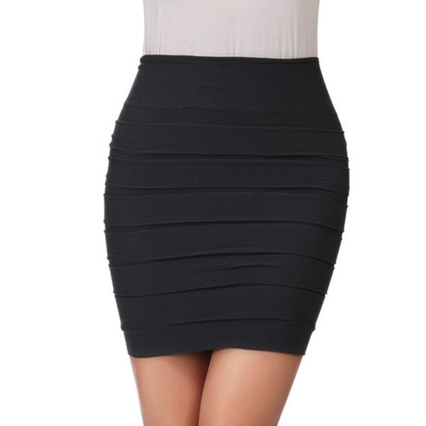 Fashion Ruched Bodycon Mini Pencil Skirt (35 RON) ❤ liked on Polyvore featuring skirts, mini skirts, gathered skirts, ruched mini skirt, shirred skirts, mini pencil skirt and body con skirt