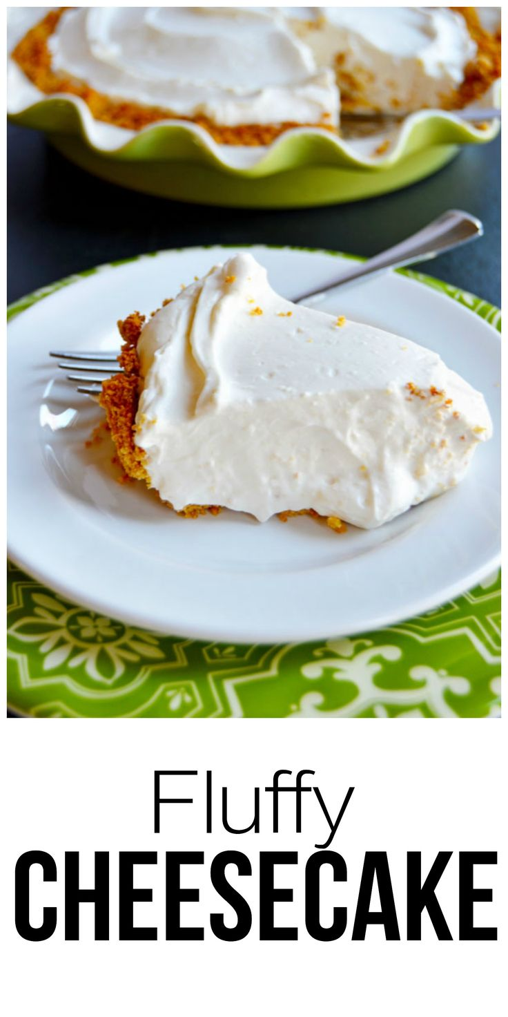 One of my favorite desserts and also one of the easiest. A fluffy cheesecake made with cream cheese and fresh whipped cream folded together and set in a graham cracker crust.