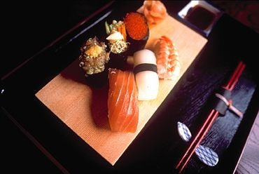 Delectable sushi is sometimes on the menu