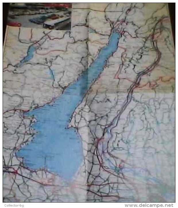 RARE OLD Map Region Lake Lago Di Garda - Italy (Italian Lira) VERONA - Roadmaps