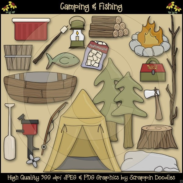 Scappin Doodles Clipart Camping & Fishing