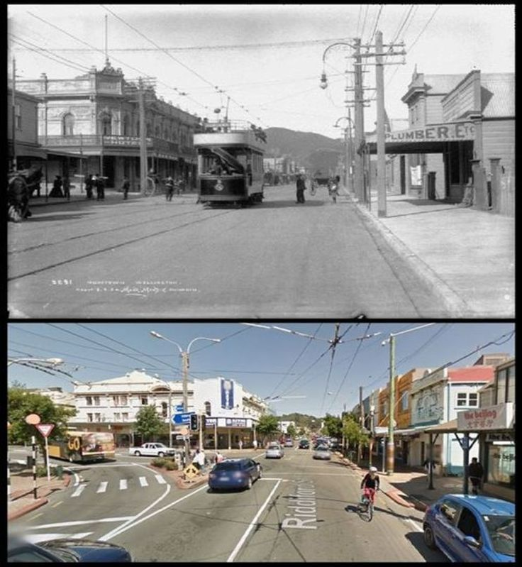 Riddiford Street, NEWTOWN - 1904 & 2015 - looking south, Constable street on the left - Old Wellington Region 16 Jan 2016