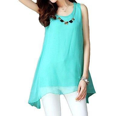 Women's Candy Color Sleeveless Irregular Hem Chiffon Blouse – CLP $ 6.092
