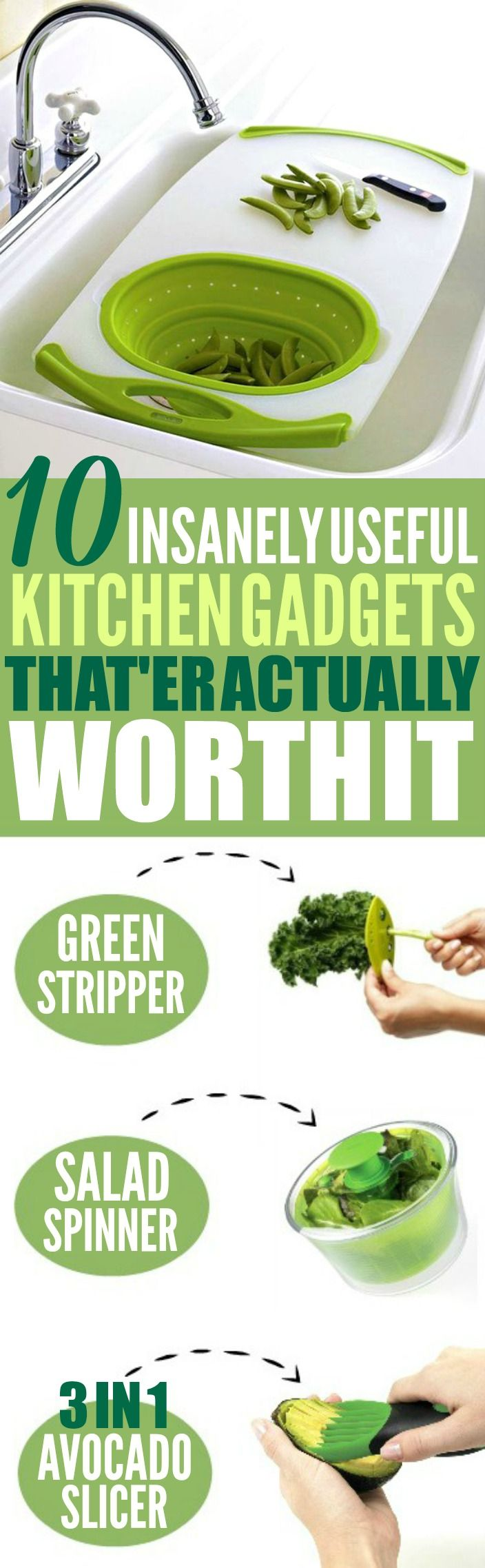 These 10 insanely useful kitchen gadgets and gizmos are THE BEST! I'm so glad I found these AWESOME tips! Now I have some great kitchen gadgets to make my cooking easier! Definitely pinning!