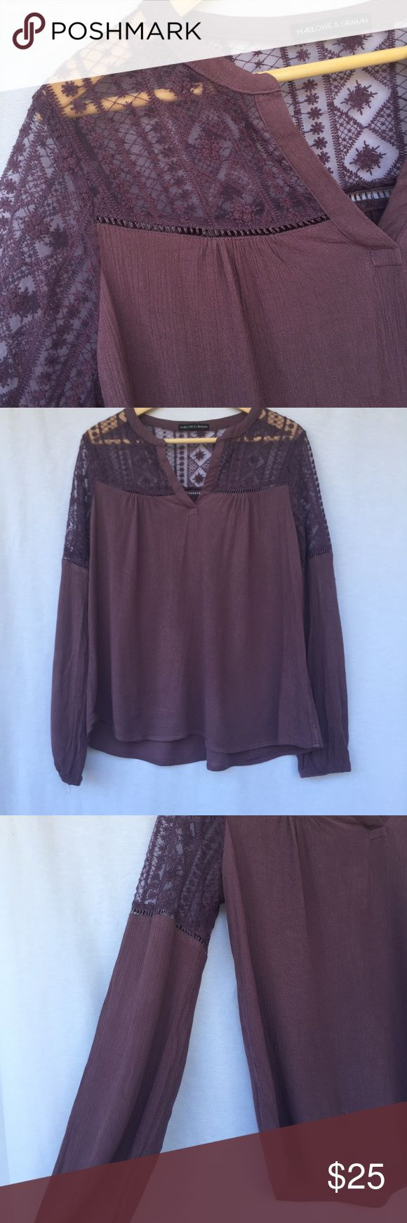 Harlowe & Graham Purple Peasant Top Beautiful sheer crochet shoulder top with peasant sleeves. great condition. Comfortable and light. Harlowe & Graham Tops Blouses
