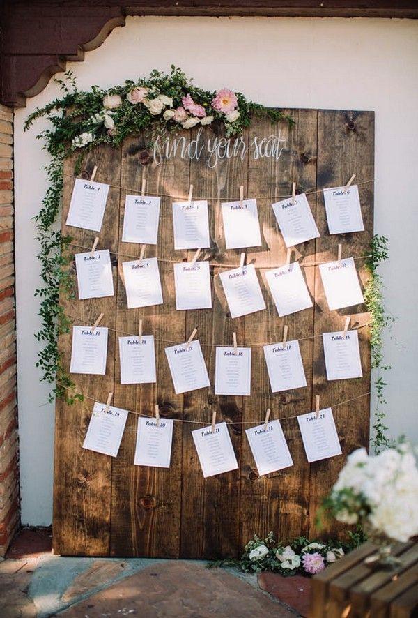 schicke rustikale Hochzeitssitzplan-Ideen
