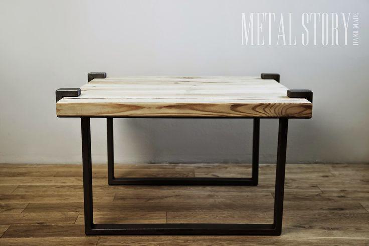 stół Richmond, surowy blat i metalowa podstawa #metalstory #stol #mebleloftowe