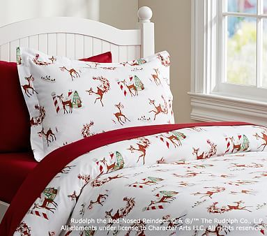 Rudolph The Red Nosed Reindeer 174 Flannel Duvet Cover