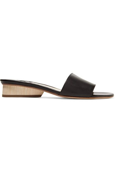 Heel measures approximately 20mm/ 1 inch Black leather  Slip on Made in ItalySmall to size. See Size & Fit notes.