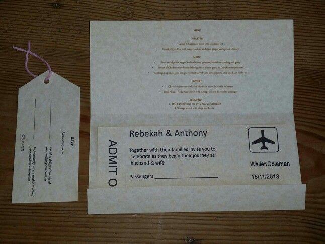 Ticket Style Wedding Invitations x www.facebook.com/JustForYouDesignsbyRebekah