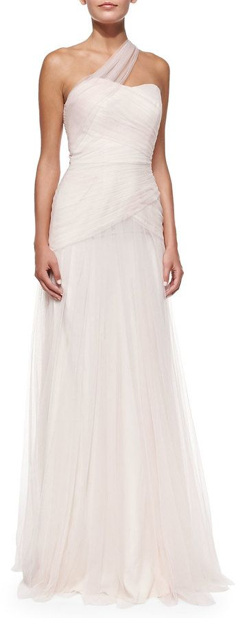 Monique Lhuillier Bridesmaids One-Shoulder Draped Tulle Gown, Blush