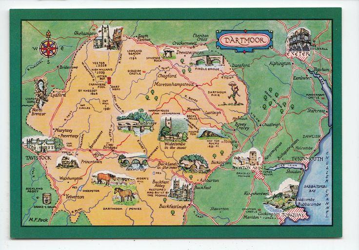 Dartmoor Map Postcard Devon 0201