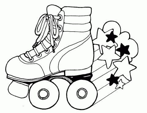 Free Printable Roller Skates-Coloring sheet Auf mormonshare.com http://www.pinterest.com/calfibro/allerlei/
