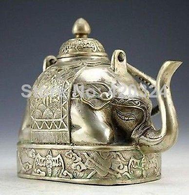 Chinees zeldzame miao zilveren olifant thee pot@@#rgryh prachtige marmeren kunst zeldzame vintage