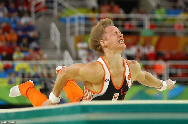 Some fans must have assumed that Zonderland, 30, one of the favourites, would simply drop out of the event. Britain's Nile Wilson, 20, was even caught saying 'no way' as he waited for Zonderland to get back on his feet.    Ouch: Zonderland of the Netherlands fallsfrom the horizontal bar during the artistic gymnastics men's apparatus final