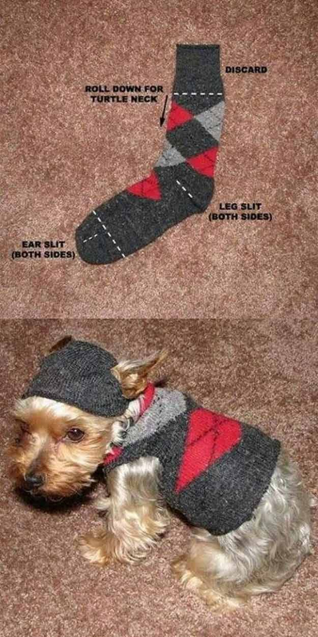 DIY Sock Sweater - 12 DIY Dog Clothes and Coats   How To Make Cute Outfits For Your Furry Pet by DIY Ready at http://diyready.com/diy-dog-clothes-and-coats/