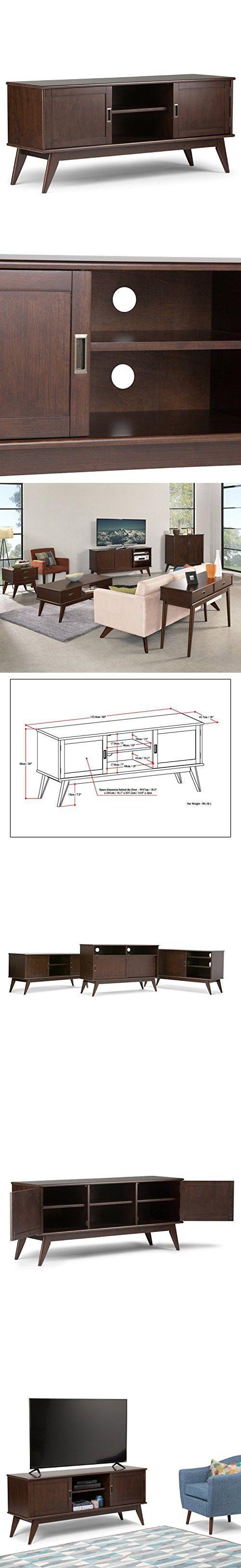 Simpli Home Draper Mid Century Low TV Media Stand, Medium, Auburn Brown