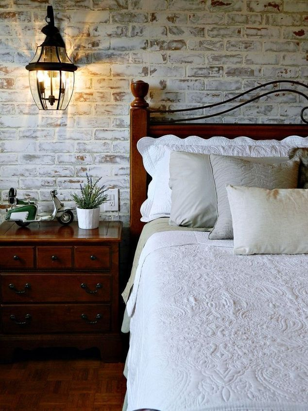 faux brick walllooks beautiful in the bedroom but maybe in the sewing