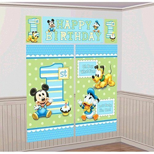 Amscan Disney Baby Mickey Mouse 1st Birthday Scene Setters Wall Decorating Kit Party Supplies Large BlueGreen -- Visit the image link more details.