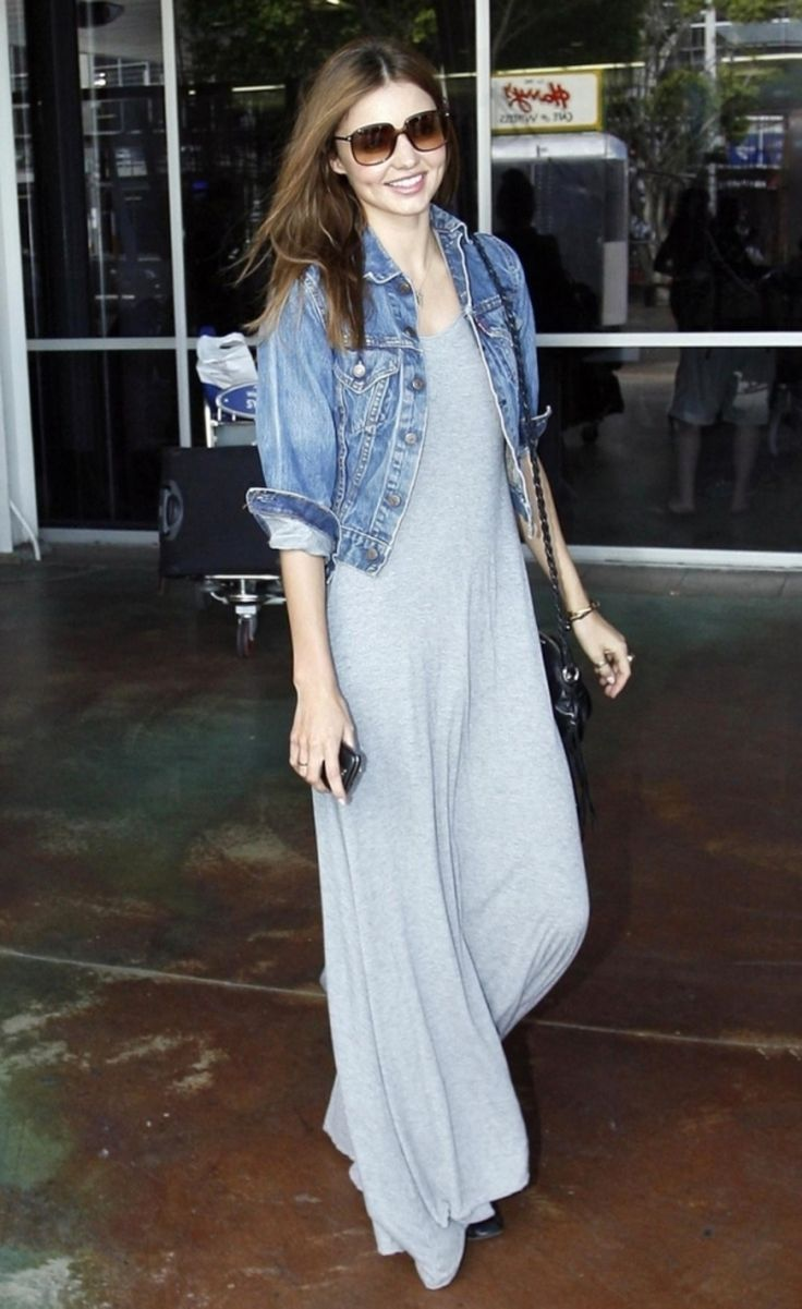 Try a #Denim Jacket - 7 #Styling Tips for Wearing a Maxi #Dress in the Fall