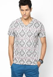 Smart Grey Marl Printed V Neck T-Shirt